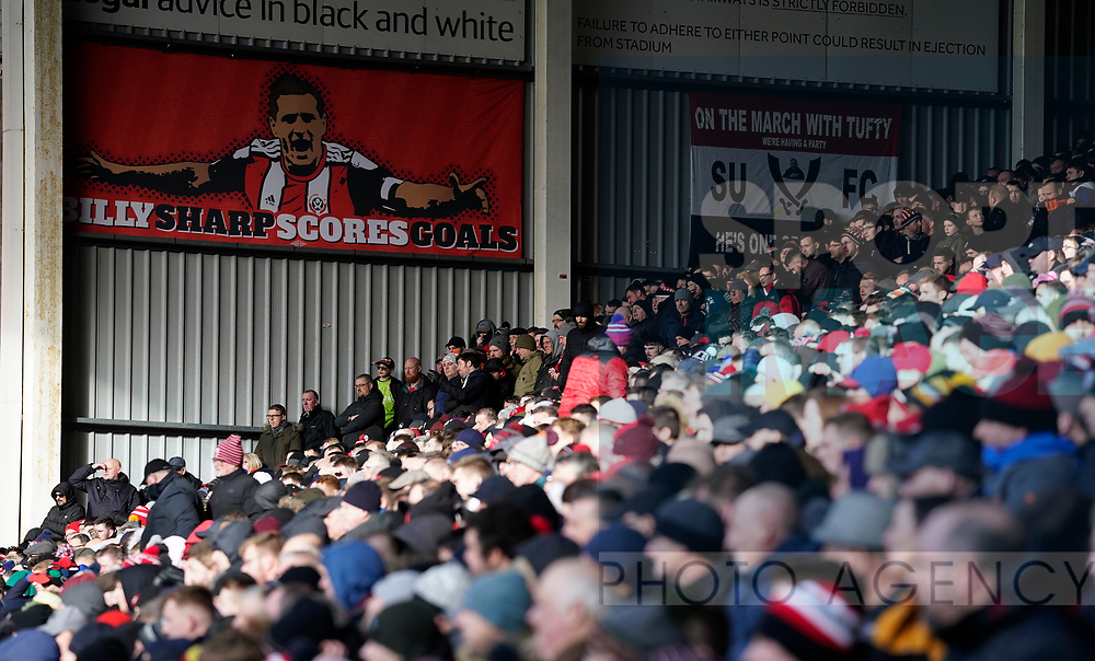 Billy Sharp banner on the Kop during the Premier League match at Bramall Lane, Sheffield. Picture date: 9th February 2020. Picture credit should read: Simon Bellis/Sportimage
