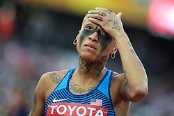 London, August 12 2017 . Inika McPherson, USA, the women's high jump final on day nine of the IAAF London 2017 world Championships at the London Stadium. © Paul Davey.