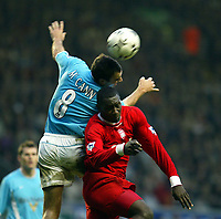Liverpool's Emile Heskey and Sunderland's Gavin McCann during the Premiership match at Anfield, Liverpool, Sunday, November 17th, 2002. <br /><br />Pic by David Rawcliffe/Propaganda<br /><br />Any problems call David Rawcliffe on +44(0)7973 14 2020 or email david@propaganda-photo.com - http://www.propaganda-photo.com