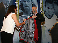 28 August 2006: Carla Overbeck (l) is presented with her Hall of Fame jacket by HOF president Will Lunn during her induction. The National Soccer Hall of Fame Induction Ceremony was held at the National Soccer Hall of Fame in Oneonta, New York.