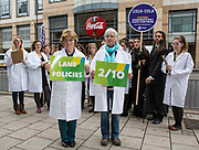 Hazel Darke Jones & Gill Brooks with other Oxfam supporters outside Coca Cola headquarters, calling for the company to tighten its supply chain so that the ingredients Coca Cola uses in its products are not grown on land that has been grabbed from poor communities