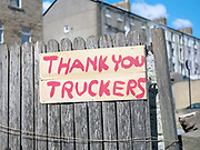 A hand painted Thank You Truckers sign along a roadside during the Coronavirus pandemic on 14th May 2020 in Morecambe, Lancashire, United Kingdom.