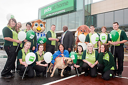Pets at Home Kilner Way Sheffield Store Opening - Back Row.Janine Whelpton, Jayne Seedhouse, Steph Smith, Ossie Owl Shane Booker deputy Mayor of Sheffield Cllr: John Campbell , Robbie the Dog, Danny Tylec, Johnny Norris, Jake Lingwood..Front Row, Maxine Radford, Michalea Ward, Bex Brown, Julie Lythall and Elle, Joanne Harrison, Clare Platton.26 August 2011  Image © Paul David Drabble