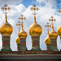 Church steeples inside the Kremlin - Moscow, Russia