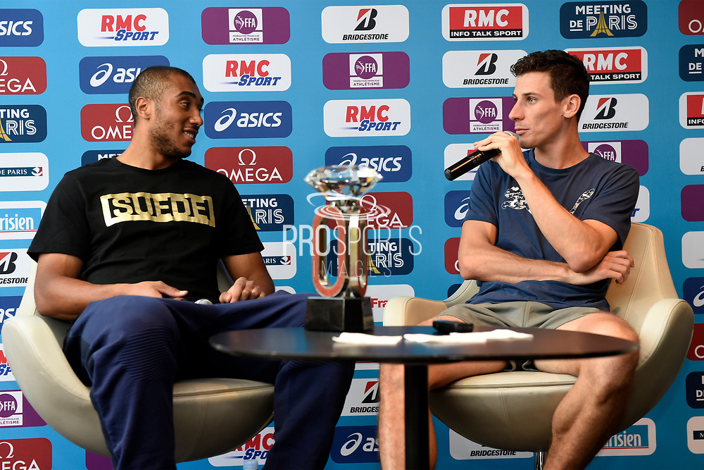 Jimmy Vicaut (FRA) and Pierre-Ambroise Bosse (FRA) during press conference of Meeting de Paris 2018, Diamond League, at Hotel Marriott, in Paris, France, on June 29, 2018 - Photo Jean-Marie Hervio / KMSP / ProSportsImages / DPPI