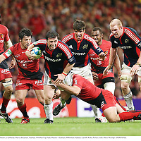 24 May 2008; Marcus Horan, Munster, is tackled by Thierry Dusautoir, Toulouse. Heineken Cup Final, Munster v Toulouse, Millennium Stadium, Cardiff, Wales. Picture credit: Oliver McVeigh / SPORTSFILE