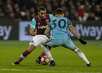 Football - 2016 / 2017 FA Cup - Third Round: West Ham United vs. Manchester City <br /> <br /> Dimitri Payet of West Ham cuts inside Nicolas Otamendi of Manchester City  at The London Stadium.<br /> <br /> COLORSPORT/DANIEL BEARHAM