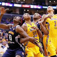 03 August 2014: Los Angeles Sparks forward Nneka Ogwumike (30) vies for the rebound with Connecticut Sun forward Chiney Ogwumike (13) during the Los Angeles Sparks 70-69 victory over the Connecticut Sun, at the Staples Center, Los Angeles, California, USA.