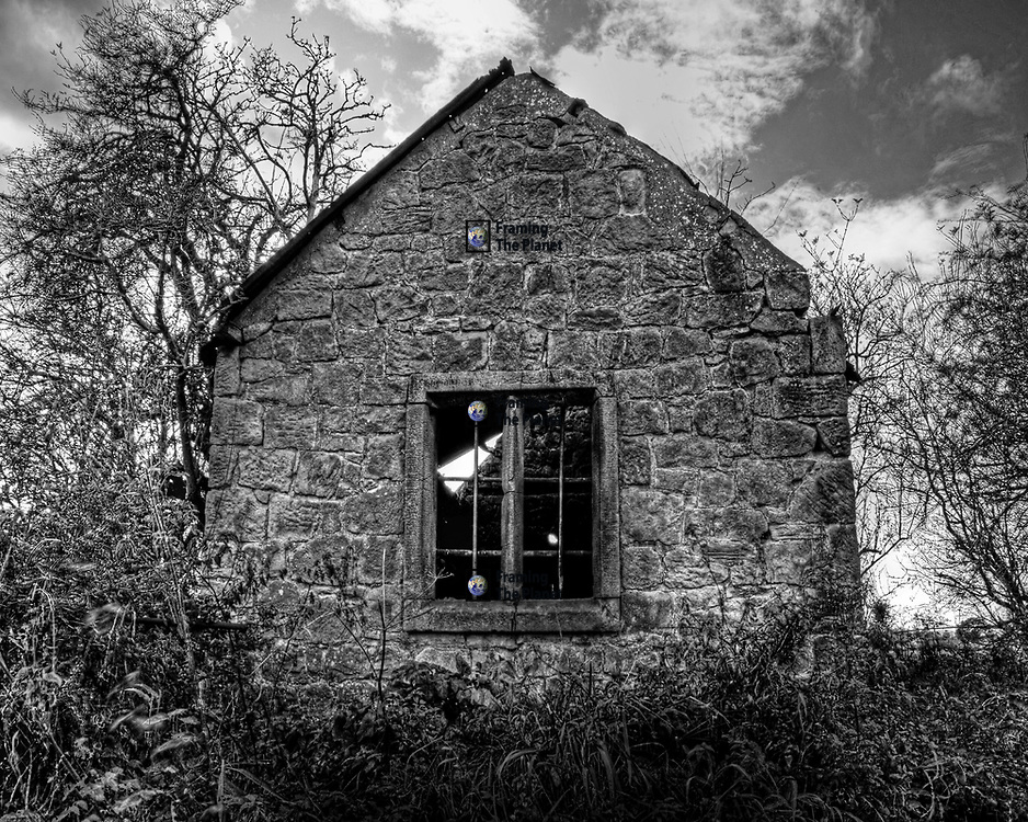 Photo Art Print of a fallen down farm building in black and white available as a Download, Framed, Canvas, Fine Art and Photo Print. This is a very spooky and possible haunted old fallen down house I found whilst out walking. It has a very strange ora and would certainly be a scary place to stay late at night. In this image I've used black and white and HDR or high dynamic range technique to bring out the depth of detail and colour found in this very old building.
