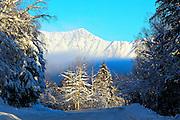 Alaska, Kenai Mountain Range, Hope Highway during the winter months.
