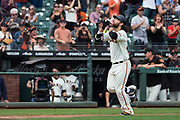 San Francisco Giants shortstop Brandon Crawford (35) celebrates a solo home run against the Colorado Rockies at AT&T Park in San Francisco, California, on September 20, 2017. (Stan Olszewski/Special to S.F. Examiner)