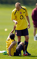 Photo: Richard Lane.<br />Arsenal Training Session. The Barclays Premiership. 11/05/2006.<br />Dennis Bergkamp picks out a problem with Ashley Cole.