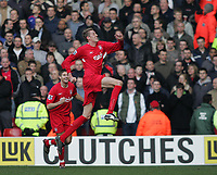 Photo: Lee Earle.<br /> Liverpool v Manchester United. The FA Cup. 18/02/2006. Liverpool's Peter Crouch (R) jumps for joy after scoring the winning goal.