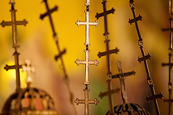Middle East, Israel, Jerusalem, Church of the Holy Sepulchre, chains of golden crosses