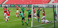 The header from Middlesbrough's Chuba Akpom hits the post before bouncing down, into the arms of Birmingham City's Neil Etheridge, as Middlesbrough players appeal for the goal<br /> <br /> Photographer Alex Dodd/CameraSport<br /> <br /> The EFL Sky Bet Championship - Middlesbrough v Birmingham City - Saturday 16th January 2021 - Riverside Stadium - Middlesbrough<br /> <br /> World Copyright © 2021 CameraSport. All rights reserved. 43 Linden Ave. Countesthorpe. Leicester. England. LE8 5PG - Tel: +44 (0) 116 277 4147 - admin@camerasport.com - www.camerasport.com