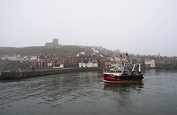 © Licensed to London News Pictures. 03/04/2014<br /> <br /> Whitby, North Yorkshire, United Kingdom<br /> <br /> Heavy fog shrouds the abbey and church on the hill above Whitby harbour as a fishing boat heads out to check the morning catch.<br /> <br /> Photo credit : Ian Forsyth/LNP