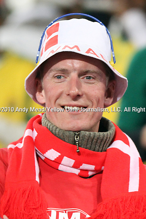 19 JUN 2010:  Denmark fan in the stands.  The Cameroon National Team played the Denmark National Team at Loftus Versfeld Stadium in Tshwane/Pretoria, South Africa in a 2010 FIFA World Cup Group E match.