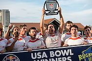 Clemson University celebrates winning the Bowl trophy at Red Bull Uni 7s Rugby Qualifiers at Infinity Park in Glendale, CO, USA, on 25 August, 2016.