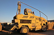 Mine Resistant Ambush Protected vehicle used in Iraq at a motor pool in Basra on camp Charlie