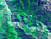 The ruins of Machu Picchu, rediscovered in 1911 by Hiram Bingham. June 25, 2001. Satellite image.