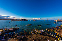 Looking across the Venice Lagoon to Church of San Giorgio Maggiore, Venice, Italy.