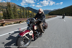 Dan Kraft riding his 1934 Harley-Davidson VL on Colorado Highway 91 to Leadville during Stage 10 (278 miles) of the Motorcycle Cannonball Cross-Country Endurance Run, which on this day ran from Golden to Grand Junction, CO., USA. Monday, September 15, 2014.  Photography ©2014 Michael Lichter.