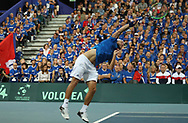 Lucas Pouille (French) during the 2018 Davis Cup, semi final tennis match between France and Spain on September 14, 2018 at Pierre Mauroy stadium in Lille, France - Photo Laurent Lairys / ProSportsImages / DPPI