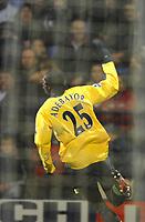 Photo: Paul Greenwood.<br />Bolton Wanderers v Arsenal. The FA Cup. 14/02/2007. Arsenal's Emmanuel Adebayor is seen celebrationg through the Bolton nets