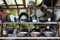 Sipson, UK. 5th June, 2018. A place for washing pots, pans and dishes at Grow Heathrow. Grow Heathrow is a squatted off-grid eco-community garden founded in 2010 on a previously derelict site close to Heathrow airport to rally support against government plans for a third runway and it has since made a significant educational and spiritual contribution to life in the Heathrow villages, which remain threatened by Heathrow airport expansion.