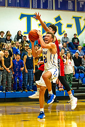 13 December 2019: Boys Basketball game between the Heyworth Hornets and the Tri Valley Vikings in Tri Valley High School, Downs IL<br /> <br /> 24