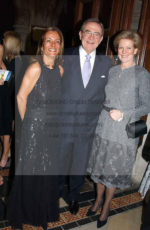Left to right, LOULA CHANDRIS chairman of the ball, KING CONSTANTINE OF GREECE and  QUEEN ANNE-MARIE OF GREECE at The Magic of Winter ball in aid of the charity KIDS held at The Royal Courts of Justice, London on 2nd Ferbruary 2005.<br /><br />NON EXCLUSIVE - WORLD RIGHTS