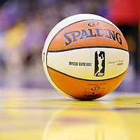 25 May 2014: An official game ball is seen on the court during the Los Angeles Sparks 83-62 victory over the San Antonio Stars, at the Staples Center, Los Angeles, California, USA.