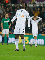 Football - 2017 / 2018 Premier League - Swansea City vs. West Bromwich Albion<br /> <br /> Wilfried Bony of Swansea City looks angry after missing a shot at goal at The Liberty Stadium.<br /> <br /> COLORSPORT/WINSTON BYNORTH