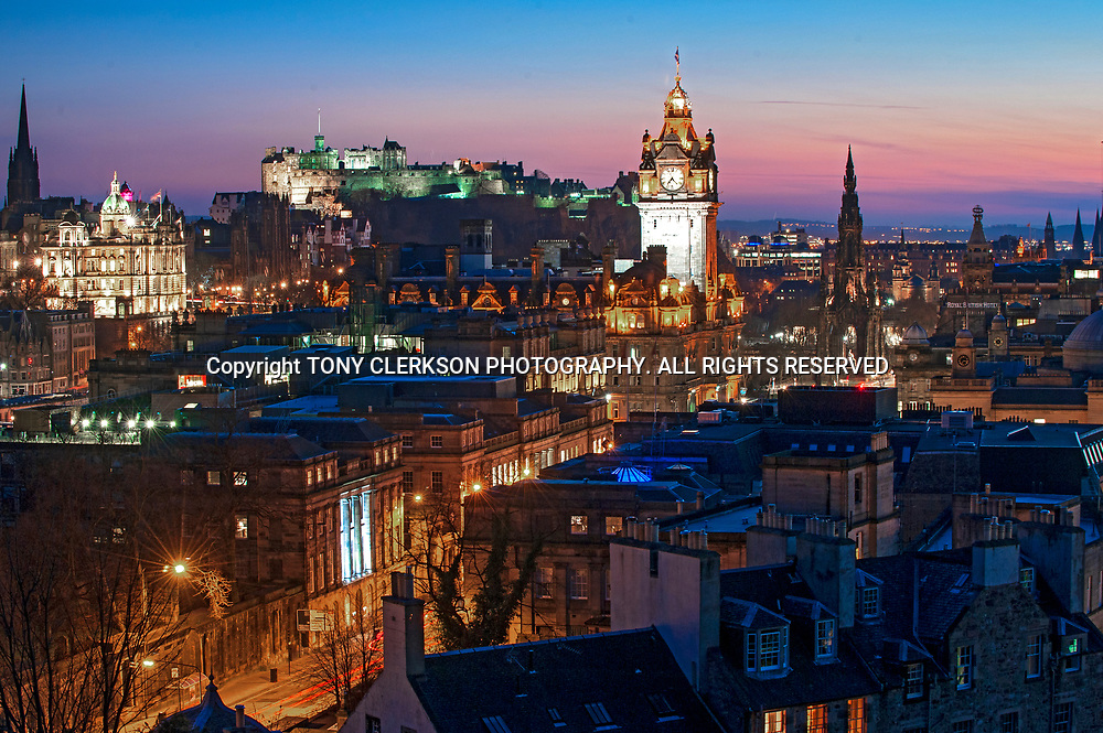 A view over Edinburgh from Calton Hill, taking in Princes Street, the Balmoral Hotel and Edinburgh Castel