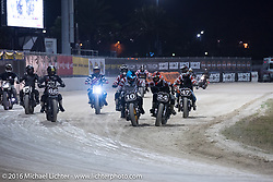 First place Roland Sands (#10), 2nd place Jamie Robinson (#47) and 3rd place after their    AMA Super Hooligan race at Daytona Speedway's Flat Track during Daytona Bike Week's 75th Anniversary event. Ormond Beach, FL, USA. Thursday March 10, 2016.  Photography ©2016 Michael Lichter.AMA Flat Track and Super Hooligan racing at Daytona Speedway's Flat Track during Daytona Bike Week's 75th Anniversary event. Ormond Beach, FL, USA. Thursday March 10, 2016.  Photography ©2016 Michael Lichter.