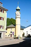 Lienz clock tower, Tyrol, Austria. the main pedestrian and shopping street