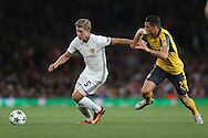 Alexander Fransson of FC Basel breaks away from Granit Xhaka of Arsenal. UEFA Champions league group A match, Arsenal v FC Basel at the Emirates Stadium in London on Wednesday 28th September 2016.<br /> pic by John Patrick Fletcher, Andrew Orchard sports photography.