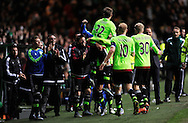 Ajax's Vaclav Cerny scores the winner in a 1-2 victory versus Celtic during the UEFA Europa League Group A football match between Celtic and Ajax Amsterdam at Celtic Park, in Glasgow, Scotland on November 26, 2015.   AFP PHOTO / NEIL HANNA