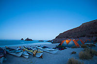 Scenic of kayak camp on Isla Espiritu Santo in the Sea of Cortez, Mexico