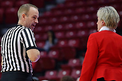 29 January 2017: Brad Maxey and Barb Smith during an College Missouri Valley Conference Women's Basketball game between Illinois State University Redbirds the Salukis of Southern Illinois at Redbird Arena in Normal Illinois.