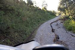 Landslide damage to the road in El Zapote, Santa Barbara, Honduras.