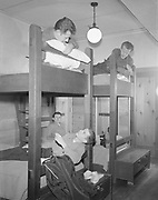 Y-501108-10.  Bunk beds in Timberline Lodge. November 8, 1950