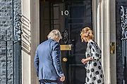 """As part of the NHS birthday celebrations, Prime Minister Boris Johnson (left in picture) and Annemarie Plas (right in Picture), founder of """"Clap For Our Carers"""" appeared outside 10 Downing Street, London on Sunday, July 5, 2020, to join in the pause for the applause to salute the NHS 72nd birthday. (VXP Photo/ Vudi Xhymshiti)"""