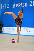 "Kudryavtseva Yana of Russia  during qualifying at ball in Pesaro World Cup at Adriatic Arena on  April 10, 2015, Italy. Yana ""The Queen"" is a Russian gymnast born in Moscow on 30 September 1997. Until her retirement in 2017 was one of atllete most awarded in the history of rhythmic gymnastics."