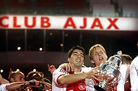 seizoen 2009 / 2010 ,   06-05-2010 ajax wordt gehuldigd in de amsterdam arena na de bekerwinst op feyenoord luis suarez  , siem de jong