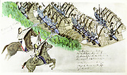 Beginning of the Battle of Little Big Horn River, Montana, 25 June 1876. Plains Indians and U.S. Cavalry.  From painting by Sioux Indian Amos Bad Heart Buffalo.