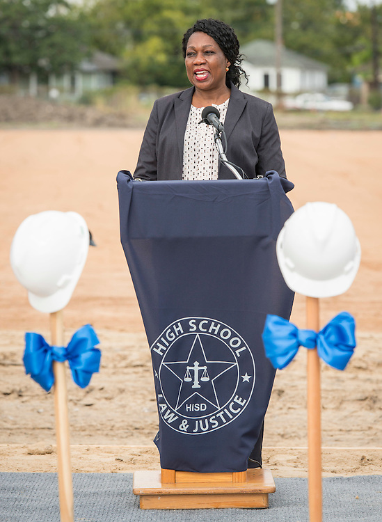 Dr. Esther Omogbehin comments during a groundbreaking ceremony for the new High School for Law and Justice, October 6, 2016.