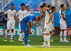 June 22, 2018 - Saint Petersburg, Russia - Bryan Oviedo (N8) of Costa Rica national team looks on as Neymar of Brazil national team prepares to take a penalty shot during the 2018 FIFA World Cup Russia group E match between Brazil and Costa Rica on June 22, 2018 at Saint Petersburg Stadium in Saint Petersburg, Russia. (Credit Image: © Mike Kireev/NurPhoto via ZUMA Press)