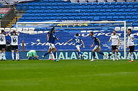 Football - 2020 / 2021 Sky Bet Championship - Cardiff City vs Rotherham United - Cardiff city Stadium<br /> <br /> Rotherham look down as Cardiff celebrate after Jamal Blackman Rotherham United is beaten by a shot from Marlon Packe in the 88th minute .<br /> <br /> COLORSPORT/WINSTON BYNORTH