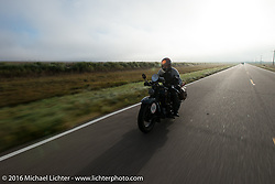 Steve Macdonald riding his 1928 Henderson Deluxe during Stage 9 (249 miles) of the Motorcycle Cannonball Cross-Country Endurance Run, which on this day ran from Burlington to Golden, CO., USA. Sunday, September 14, 2014.  Photography ©2014 Michael Lichter.